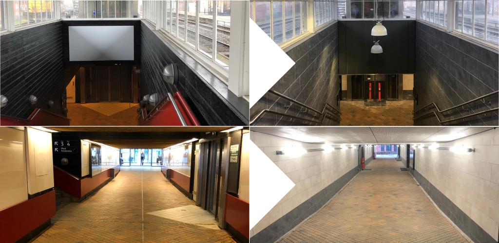Stationstunnel før og efter